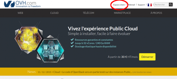 Page d'accueil d'ovh